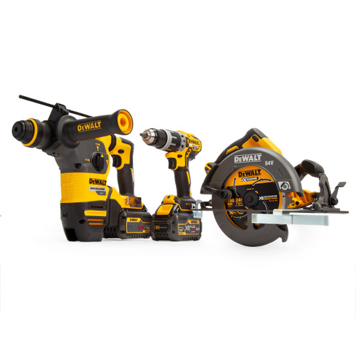 Dewalt DCK357T2 18/54V 3 Piece Kit - DCD796 Combi Drill, DCH333 SDS Hammer & DCS575 Circular Saw (2 x FLEXVOLT 6.0Ah Batteries) with 2 x TOUGHSYSTEM Boxes - 6