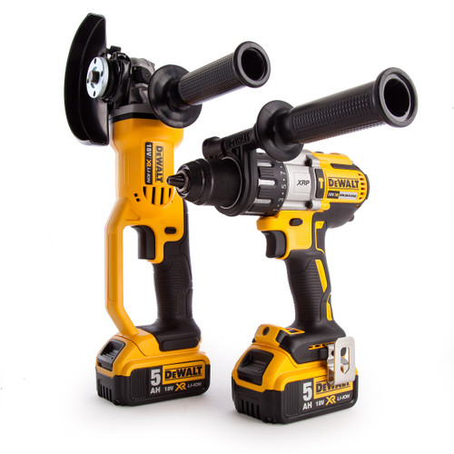 Dewalt DCK278P2 18V Twin Pack - DCD996 Combi Drill + DCG412 Angle Grinder (2 x 5.0Ah Batteries) in TOUGHSYSTEM Box - 6