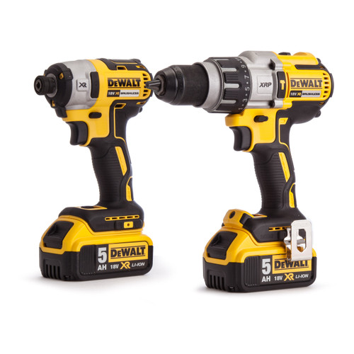 Dewalt DCK276P2 18V XR Brushless Twin Pack - DCD996 Combi Drill + DCF887 Impact Driver (2 x 5.0Ah Batteries) in Toughsystem Box - 3