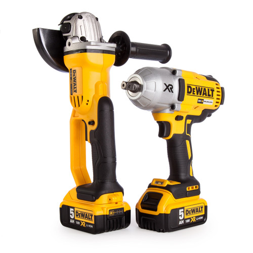 Dewalt DCK269P2 18V XR Twin Pack - DCF899 Impact Wrench + DCG412 Angle Grinder (2 x 5.0Ah Batteries) in TOUGHSYSTEM Box - 7