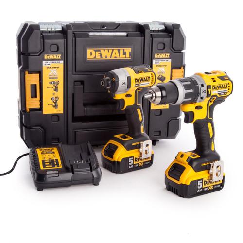 Buy Dewalt DCK266P2T 18V XR Brushless Twin Pack - DCD796 Combi Drill + DCF887 Impact Driver (2 x 5.0Ah Batteries) in TSTAK Box at Toolstop