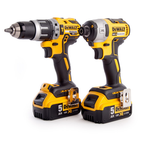 Dewalt DCK266P2T 18V XR Brushless Twin Pack - DCD796 Combi Drill + DCF887 Impact Driver (2 x 5.0Ah Batteries) in TSTAK Box - 8