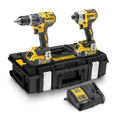 Buy Dewalt DCK266P2 18V XR Twin Pack - DCD796 Combi Drill + DCF887 Impact Driver (2 x 5.0Ah Batteries) in Toughsystem at Toolstop