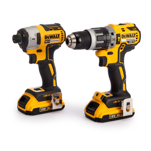 Dewalt DCK266D2 18V XR Brushless Twin Pack - DCD796 Combi Drill + DCF887 Impact Driver (2 x 2.0Ah Batteries) - 7