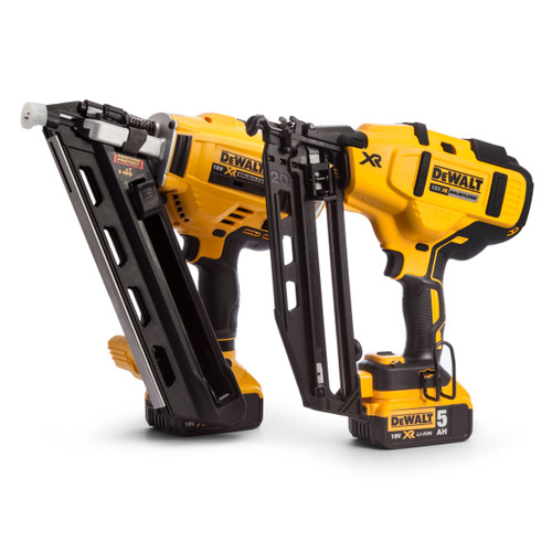 Dewalt DCK264P2 18V XR Nailer Twin Pack - DCN692 Framing 1st Fix + DCN660 Finishing 2nd Fix (2 x 5.0Ah Batteries) in Tough Box  - 7