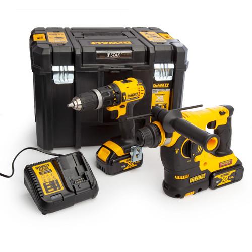 Buy Dewalt DCK206M2T 18V XR Twin Pack - DCD785 Combi Drill + DCH253 SDS Hammer Drill (2 x 4.0Ah Batteries) with TSTAK Box at Toolstop
