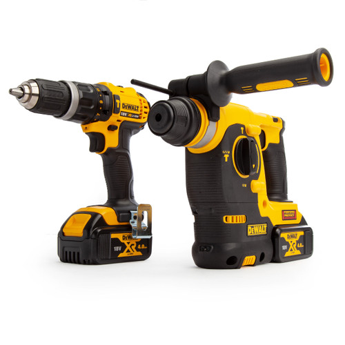 Dewalt DCK206M2T 18V XR Twin Pack - DCD785 Combi Drill + DCH253 SDS Hammer Drill (2 x 4.0Ah Batteries) with TSTAK Box - 6