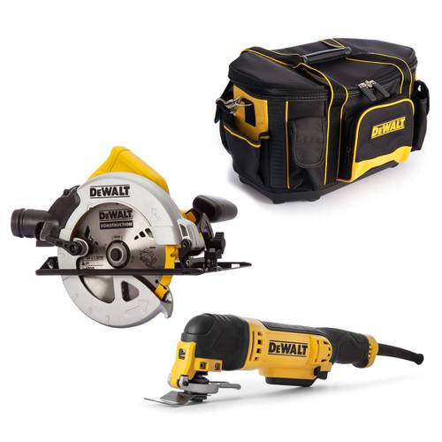 Dewalt DWE315KT 240V Multi Tool, DWE560K 240V Circular Saw + Round Top Toolbag - 3