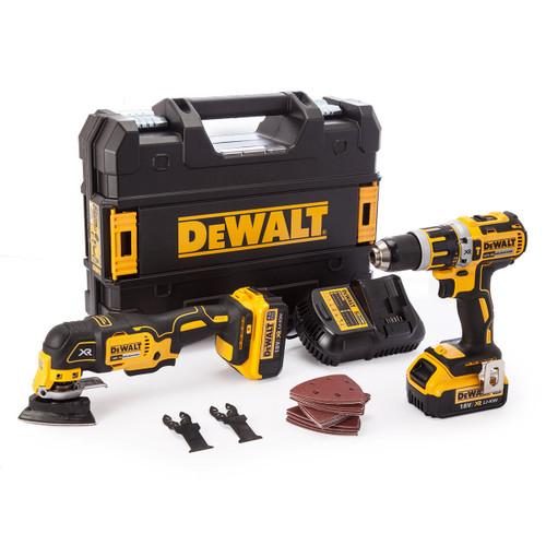 Dewalt 18V XR Twin Pack - DCD795 Combi Drill + DCS355 Multi-Tool (2 x 4.0Ah Batteries) - 5