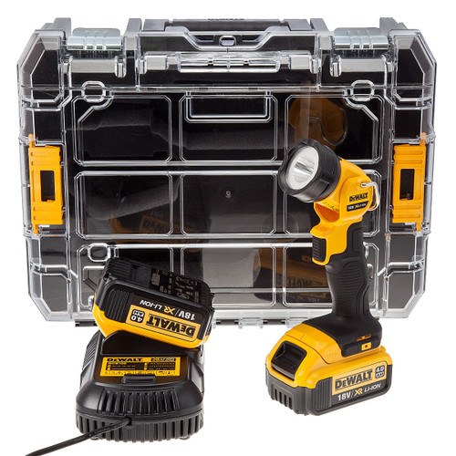 Dewalt TStak Box, 2 x DCB182 4.0Ah Batteries, DCB105 Charger + DCL040 Torch - 3