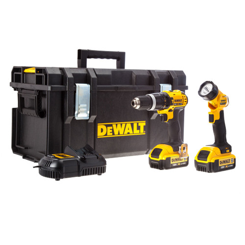 Dewalt DCD785 18V XR li-ion 2-Speed Combi Drill + DCL040 Torch (2 x 4AH Batteries) in Toughsystem Kitbox - 1
