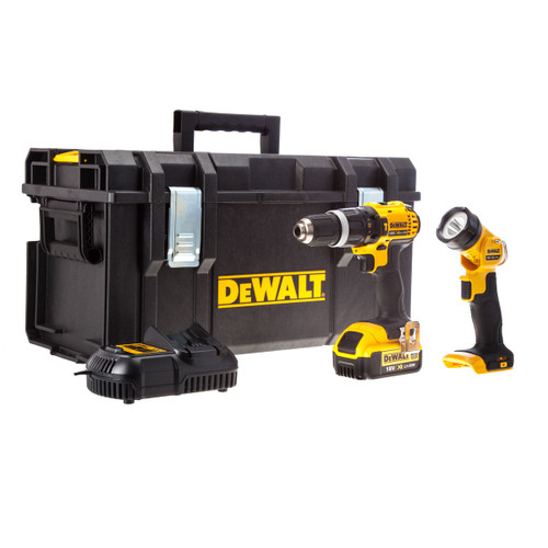 Dewalt DCD785 18V XR li-ion 2-Speed Combi Drill + DCL040 Torch (1 x 4AH Battery) in Toughsystem Kitbox - 2