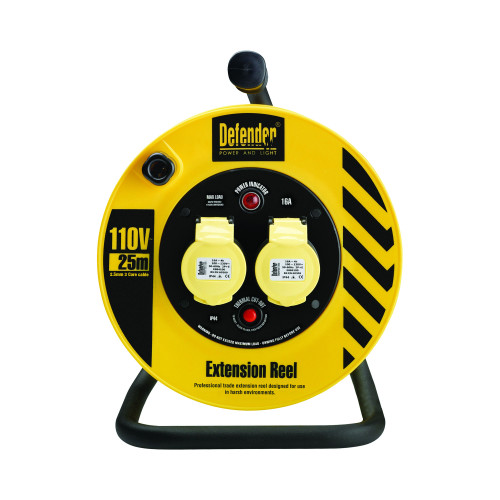 Buy Defender Light Industrial Cable Reel 25 Metres - 16A 2 Way 1.5mm 110V at Toolstop