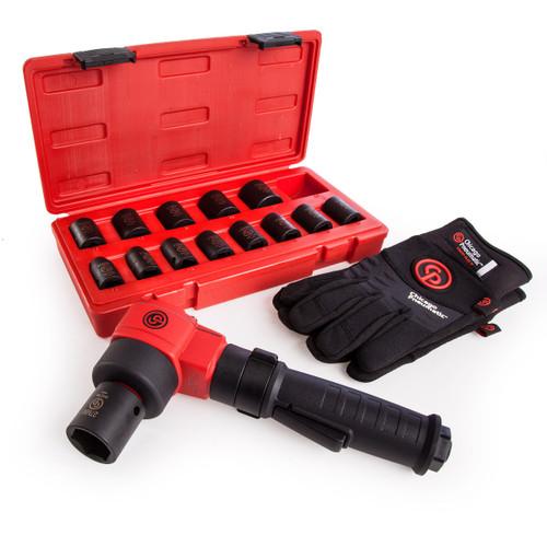Chicago Pneumatic CP7737-KIT Impact Wrench - Metric Impact Socket Set 14 Piece - Gloves Large - 7