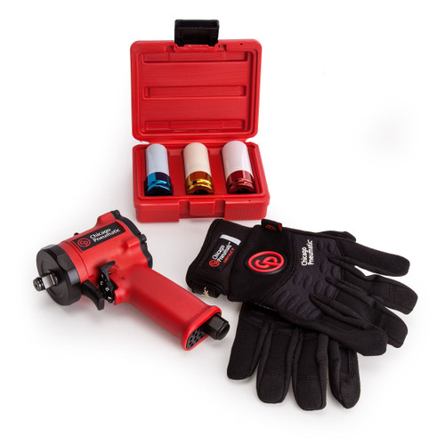 Chicago Pneumatic CP7732 Impact Wrench - 3 Piece Socket Set - Large Gloves - 2