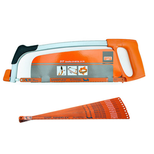 Buy Bahco 317 12 Inch Hacksaw Frame with 1 x 24TPI Blade + 10 x 32TPI Blades at Toolstop