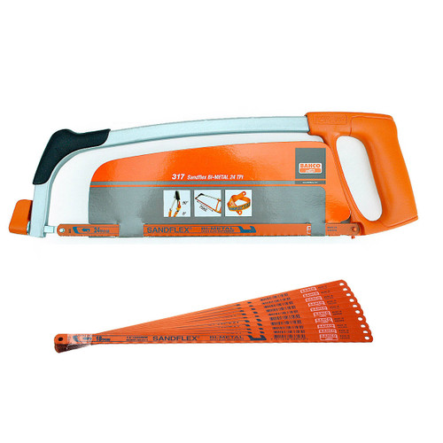 Buy Bahco 317 12 Inch Hacksaw Frame with 1 x 24TPI Blade + 10 x 18TPI Blades at Toolstop