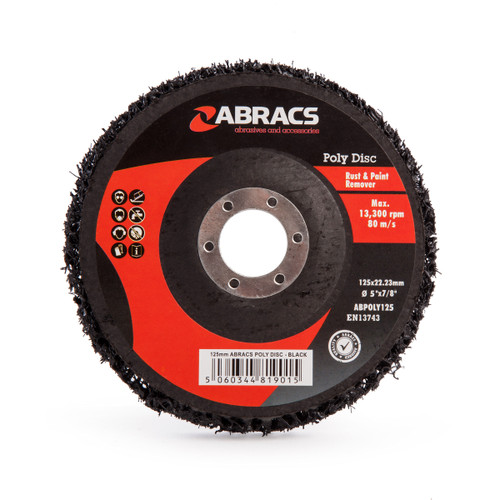 Abracs ABPOLY125 Poly Disc for Rust & Paint Removal Black 125mm - 2