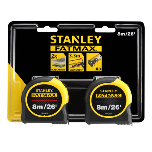 Stanley FMHT81558-5 Fatmax Classic Tape Measure Twin Pack 8m / 26ft - 6