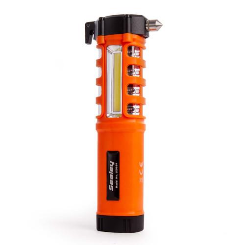 Sealey LED059 Emergency Torch/Belt Cutter/Hammer - 2W COB + 16 Red LED + 1W LED - 3