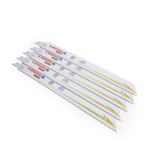 "Lenox 2110112114GR Gold Power Arc Reciprocating Saw Blades 12"" 14TPI (5 Pack) - 1"