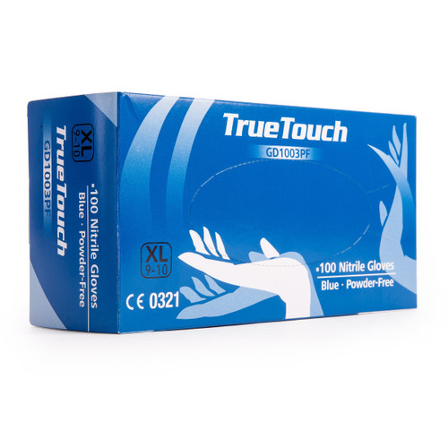 Buy True Touch GD1003PF Nitrile Gloves Pack of 100 Blue Extra Large at Toolstop