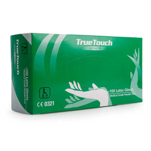Buy True Touch GD1001PF Latex Gloves Pack of 100 White Large at Toolstop