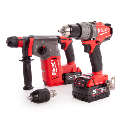 Milwaukee M18ONEPP2N-502B FUEL Thunderbolt Kit- Combi & SDS+ Drill (2 x 5.0Ah Batteries) - 6