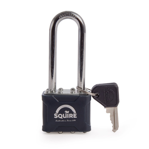 "Henry Squire NO35-2.5 2.5"" Long Shackle Laminated Double Locking Padlock 4 Pin 40mm - 1"