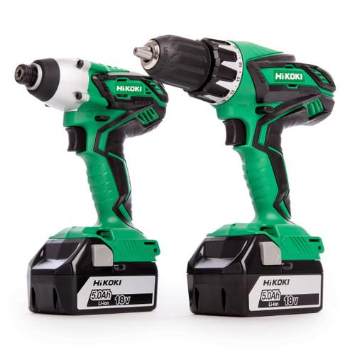 HiKOKI KC18DGL 18V Twin Pack - DV 18DGL Combi Drill + WH 18DGL Impact Driver (2 x 5.0Ah Batteries)