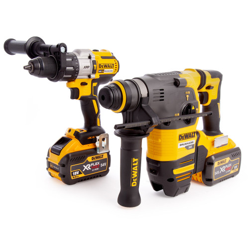 Dewalt DCK2033X2 18/54V Flexvolt Twin Pack - DCH333 SDS Plus Rotary Hammer + DCD996 Combi Drill (2 x 9.0Ah Batteries) - 7