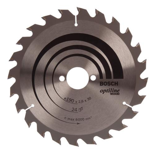 Bosch 2608640615 Optiline Circular Saw Blade 190mm x 30mm x 24T - 1