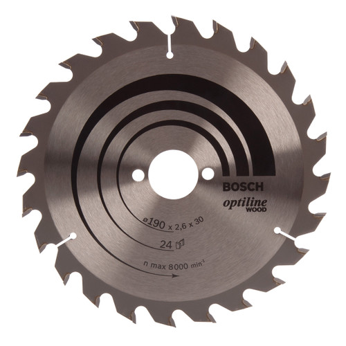 Bosch 2608640615 Optiline Circular Saw Blade 190mm x 30mm x 24T - 1
