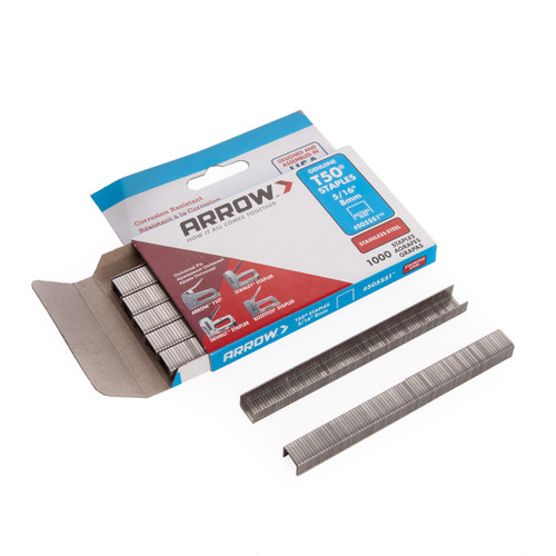 Arrow 505SS T50 Staples - Stainless Steel 8mm (Pack of 1000) - 1
