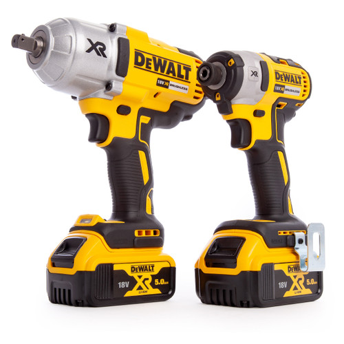 Dewalt DCK2088P2T 18V XR Twin Pack - DCF899 Impact Wrench + DCF887 Impact Driver (2 x 5.0Ah Batteries) - 9