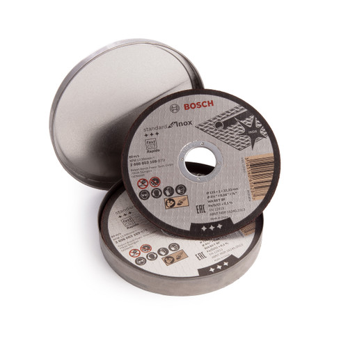 Bosch 2608603254 Inox Rapido Straight Cutting Discs 115 x 22 x 1mm (Pack Of 10) - 2