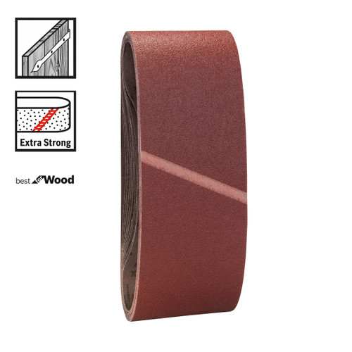 Bosch 2608606078 Mixed Grit Sanding Belts 75 x 533mm (Pack Of 3) - 1