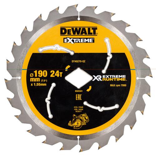 Dewalt DT40270 XR Flexvolt Extreme Runtime Circular Saw Blade 190mm x 24T - 2