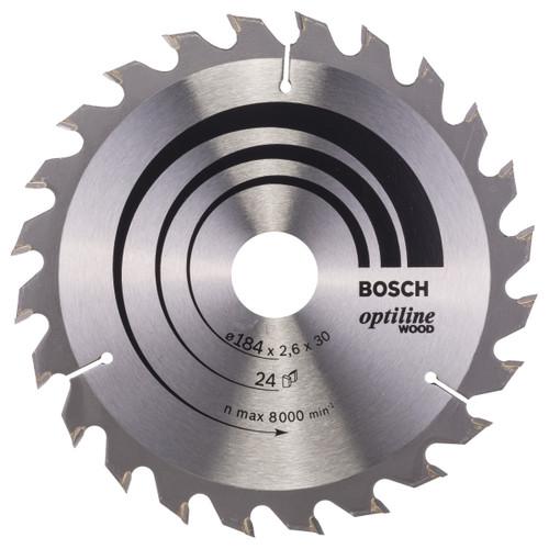 Bosch 2608640610 Optiline Circular Saw Blade for Wood 184mm x 30mm x 24T - 2
