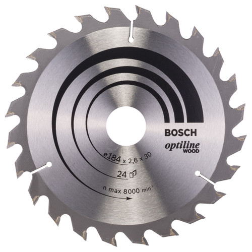 Bosch 2608640610 Optiline Circular Saw Blade for Wood 184mm x 30mm x 24T - 2