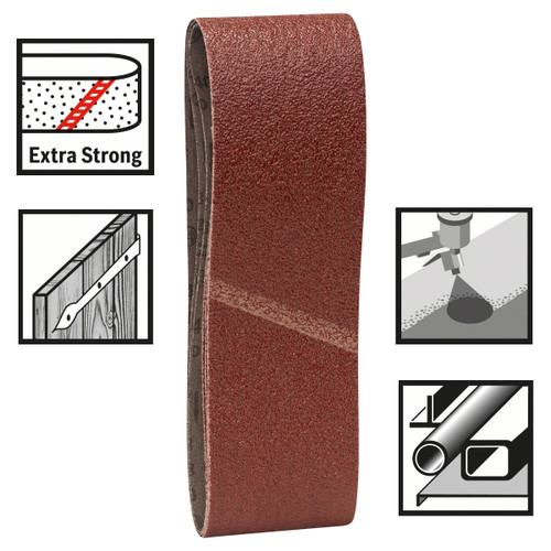 Bosch 2608606072 Sanding Belts 75mm x 533mm x 100 Grit (Pack Of 3) - 1