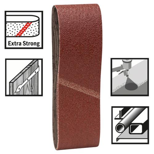 Bosch 2608606070 Sanding Belts 75mm x 533mm x 60 Grit (Pack Of 3) - 1