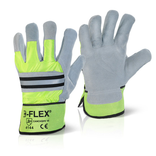Beeswift BS041 High Visibility Rigger Gloves One Size - 1
