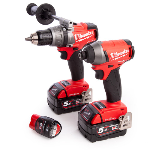 Milwaukee M18ONEPP2A-523X M18 ONE KEY Combi Drill + Impact Driver Twin Pack (2 x 5.0Ah + 1 x 2.0Ah Batteries) - 4