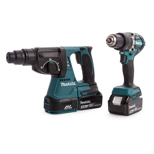 Makita DLX2204TX3 18V Brushless Twin Pack - DHP484 Combi Drill + DHR242 SDS Plus Rotary Hammer Drill (2 x 5.0Ah Batteries)  - 4