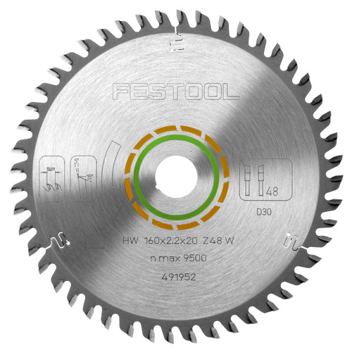 Festool 491952 Fine Tooth Saw Blade for TS55 160mm x 20mm x 48T - 1