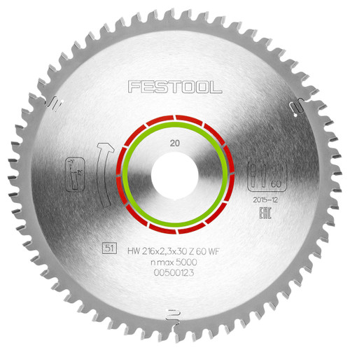 Festool 500123 Special Saw Blade 216mm x 30mm x 60T - 1