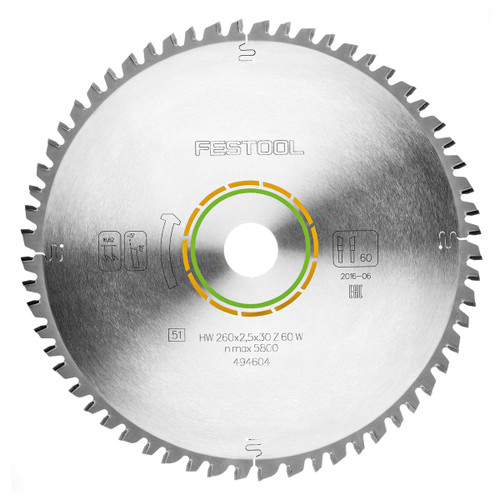 Festool 494604 Universal Saw Blade 260mm x 30mm x 60T - 1