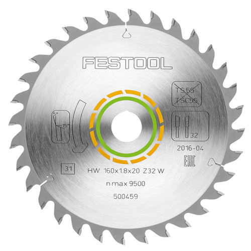 Festool 500459 Fine Tooth Saw Blade for Wood 160mm x 20mm x 32T - 1
