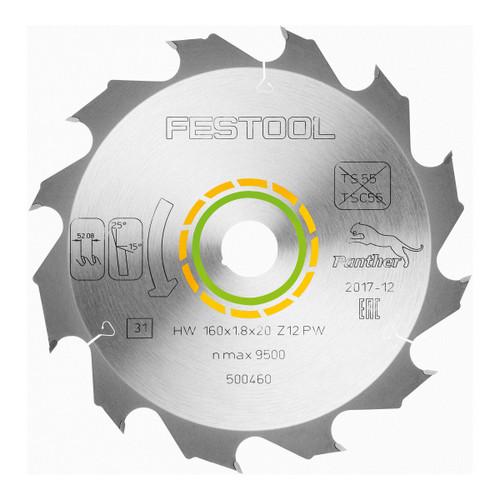 Festool 500460 Panther saw blade 160mm x 20mm x 12T - 2